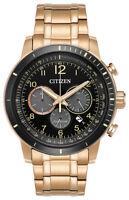 Citizen Eco-Drive Brycen Men's Chronograph Rose Gold-Tone 44mm Watch CA4359-55E