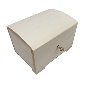 WOODEN JEWELLERY CHEST 15 CM LONG, CLOSED FOR KEY, UNPAINTED