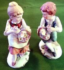 "Charming 4"" Couple Pair of Porcelain Bisque Figurines c8844"