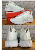 NIKE MENS UK 8 EU 42.5 REACT ELEMENT 55 WHITE TRAINERS RRP £115  LG