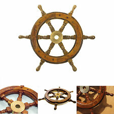 Ship Steering Wheel Wooden Pirate Boat Wall Decor Vintage Nautical Wood