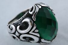Ottoman! Turkish Jewelry Oval Emerald 925 Sterling Silver Men's Ring Size 11