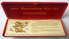 Singapore 1988 Year Of Dragon Coin set 1cent - $1 uncirculated C/W Casing.