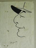 Dibujo Pluma Caricatura Original Firmada Bogislas Ilustrador Principios 1900