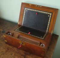 ANTIQUE MAHOGANY FITTED BRASS BOUND WRITING SLOPE BOX COMPLETE ORIGINAL SECRET