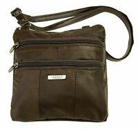 Womens Small Brown Real Leather Crossbody Bag Shoulder Handbag Soft Lorenz 3766
