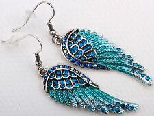 Angel Wing Drop Dangle Earrings Crystal Rhinestone Fashion Jewelry Blue ED01