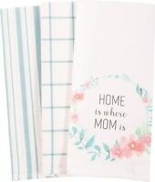 Mom Home Flowers Pastels & White Patterned Kitchen Dish Towels Cotton Set of 3