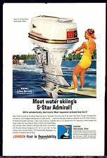 1963 Johnson 75 hp Sea Horse Outboard Motor Ad w/ Water Skier Skiing