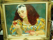 """BERTHOMME SAINT-ANDRE (1905-1977) """"La bonne aventure"""" Joueuse de cartes Huile ST"""