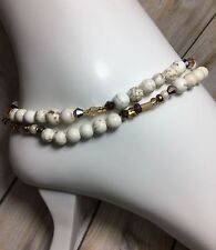 (2 )Handmade Howlite Gemstone Anklet/Ankle Bracelets W/Swarovski Elements USA