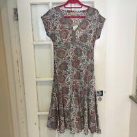 East John Lewis anokhi artisan pretty hand block print dress, size 8 bnwt
