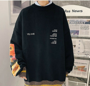 Men Pullover Sweater Van Gogh Painting Embroidery Knitted Black Retro Sweaters