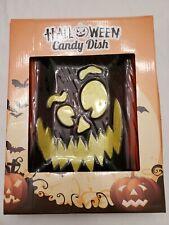 Halloween Pumpkin Candy Dish Ceramic Glass Plate Jack O Lantern Serving New