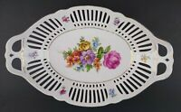 Vintage German Reticulated Pierced Rose Floral China Bread Serving Bowl Germany