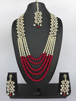 Ethnic Bollywood Indian Fashion Pearl Gold Plated Bridal Jewelry Necklace Set
