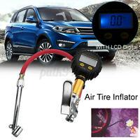 LCD Digital Tyre Inflator Car Motorcycle Air Pressure Tire Gauge PSI And Hose