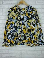 Noni B Shirt/blouse Black yellow blue floral print 100% cotton 3/4 sleeves Sz 18