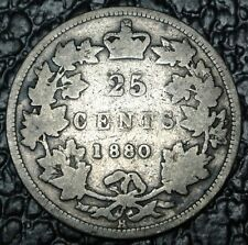OLD CANADIAN COIN 1880 H - WIDE O - 25 CENTS - SILVER - Victoria-KEY DATE- RARE