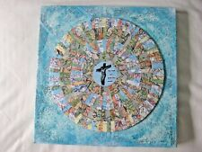 """For God So Loved...""Original Art COLLAGE Vintage Bible pgs.& maps 10x10 Canvas"