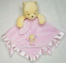 Disney Baby Winnie The Pooh Lovey Pink Satin Baby Blanket Plush Rattle Ruffle