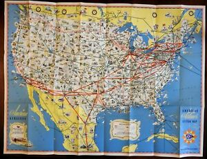 American Airlines Cartoon Pictorial map c. 1950-60 United States & Mexico