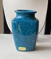 VINTAGE HAEGER CERAMIC POTTERY FLORAL VASE SIGNED SPECKLED BLUE TEAL GLAZE