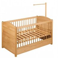 BioKinder Babybett Kinderbett mit Betthimmelhalter 70x140 Bio Massivholz