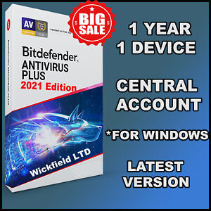 BITDEFENDER ANTIVIRUS PLUS  2021 - 1 YEAR 1 DEVICES - CENTRAL ACCOUNT - DOWNLOAD