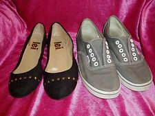 """Girl's, Lot of 2, """"BLACK & GOLD FLAT SHOES AND GRAY VAN SNEAKERS"""", Size 7"""
