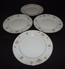 4 Royal Crown China Japan Bread Plates Pink Floral Flower Silver Trim Red