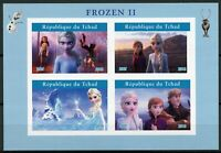Chad Disney Stamps 2019 MNH Frozen 2 Elsa Olaf Cartoons Animation 4v IMPF M/S II