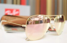 Ray Ban Sunglasses Aviator RB3025 Pink Lenses 58mm Mirrored Gold Frame
