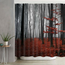 Foggy Forest Style Waterproof Shower Curtain Bathroom Decor Curtain with Hooks