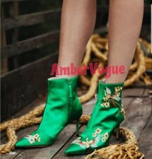 ZARA GREEN SATIN EMBROIDERED ANKLE BOOTS SIZE UK 4 EURO 37