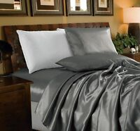 Chezmoi Collection 4-Piece Solid Gray Bridal Satin Sheet Set