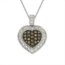 Sterling Silver 1/5 CTW Champagne Diamond Heart Pendant