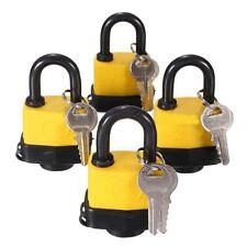 4pcs Waterproof Keyed Alike Lock Laminated Padlock Pad Same Key Gate Door B2q7
