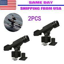 For Kayak Boat Fishing Pole Rod Holder Tackle Kit 2Pc Adjustable Side Rail Mount