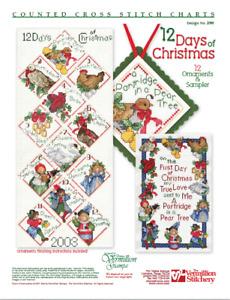 The Twelve 12 Days of Christmas Vermillion Stitchery Cross Stitch Pattern 290