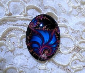 Abstract Fractal 30X40mm Glitter Unset Handmade Glass Art Bubble Cameo Cab