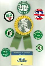 9 Vintage 1976 President Jimmy Carter Campaign Pinback Buttons w/ Ribbon & Teeth