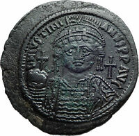 JUSTINIAN I the GREAT 539AD Ancient Constantinople Follis Byzantine Coin i82260