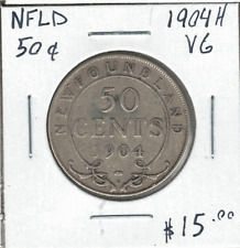 Canada 1904H Newfoundland NFLD 50 Cents Silver VG Lot#2