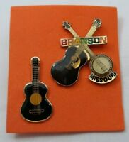 Lot 2 Enameled Souvenir Pins Pinbacks Branson Missouri Guitars Banjo Music 5360F