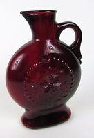 "Vintage Deep Red Ruby Hobnail Star Pinwheel 8.5"" Tall Flower Water Pitcher Vase"