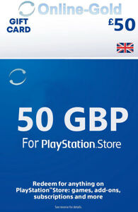 Für PSN Card UK 50 Pound - £50 GBP For Playstation Network PS4 PS3 PS Vita - UK