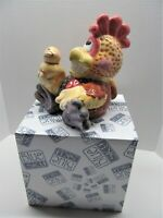 Collectible Blue Sky Ceramic Bank ROOSTER WITH RUBBER DUCKY BANK Great GIFT