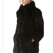 Winter Black Gilet Collared Long Sleeve Jacket Thigh Length Faux Fur Coat size 8