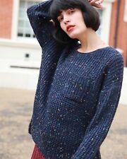 Relaxed fit Navy blue mix yarn oversize wool blend oversized jumper knitwear